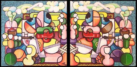 acrylique sur toile (2 fois) 40x40