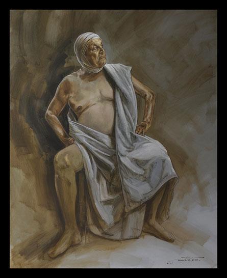 Huile sur toile, temps, vie, mort, part contemporain, dessin, anatomie