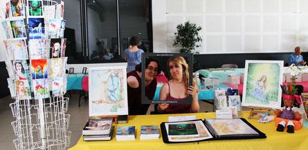L'artiste-peintre Stayly Dampierre et l'illustratrice Cloé Perrotin au Salon du Livre le Printemps des Plumes à Fleury-la-Vallée 2017
