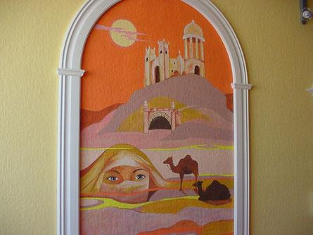 Wandbild mit Holzbogen ...