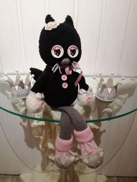 Katze aus Plüschsocken ... habe ich Cleo getauft :-)