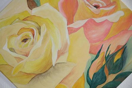 Rosen ... Quadrat 70 x 70 cm  Acryl auf Leinwand