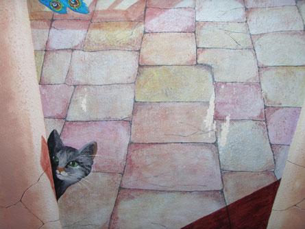Wandbild von 2006 (ich) ----- Kratztechnik von Holly 2014 ;o)