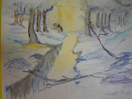Winterstimmung - gemalt: kaum zu glauben im Juli 2014