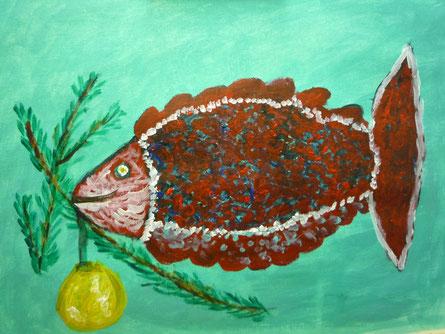 """""""Jonas - der Weihnachtsfisch""""                 ...               17.Nov.2011    ....      Acryl"""