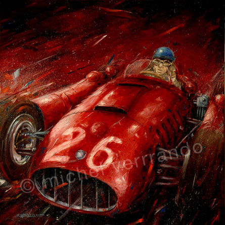 art automobile alberto ascaril automotive art f1 painting  lancia-ferrari  grand prix monaco art automobile