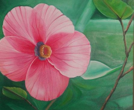 Un hibiscus rose très en détail, l'on aperçoit au travers la lumière qui passe derrière. Le fond est flou, cette toile reposante se prête bien à un interieur zen