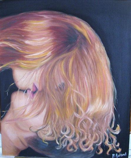 """ce tableau représente une femme allongée sur un homme, ses cheveux recouvrant leurs deux visages, cachant le baiser qu'elle lui donne. """"Pour être heureux vivons cachés"""""""