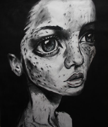 Porträt III, 2014, Kohle auf Leinwand, 1  x 1m