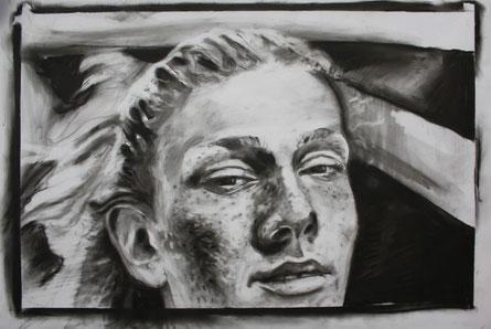 Porträt IV, Kohle auf Papier, 0,4 x 0,6 mm