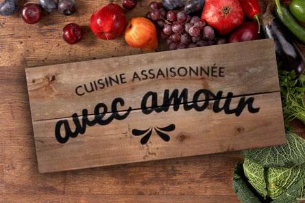 Pancarte cuisine assaisonnée avec amour - Cliquez pour en savoir plus