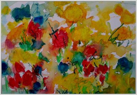Frühlingswiese, Aquarell, ca. 38x48cm