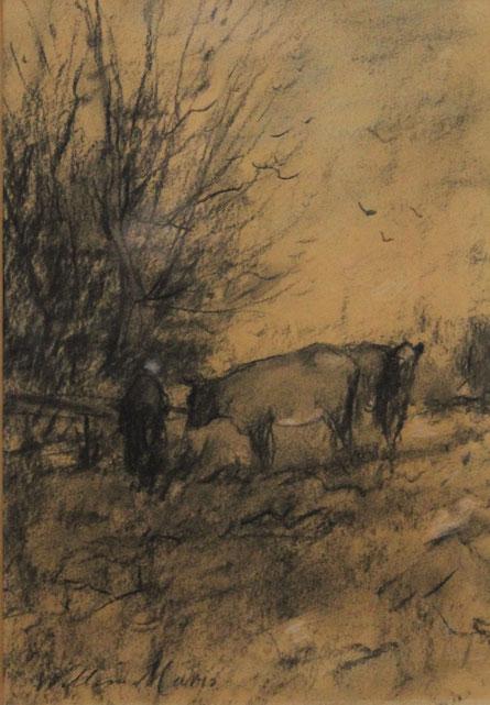 te_koop_aangeboden_een_houtskooltekening_van_de_haagse_school_kunstschilder_willem_Maris_1844-1910