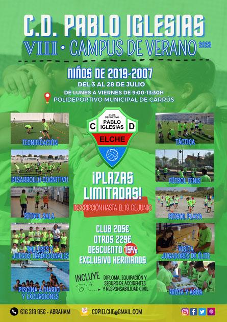 Cartel con inscripción, cuotas y actividades del campus de verano 2021 del Club Deportivo Pablo Iglesias en Elche