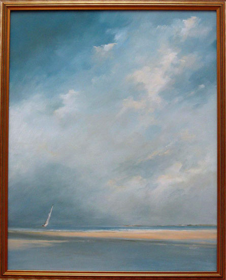 high cloud sailing; oil on panel