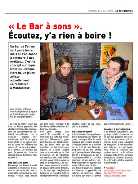 Le Télégramme 30 janvier 2013