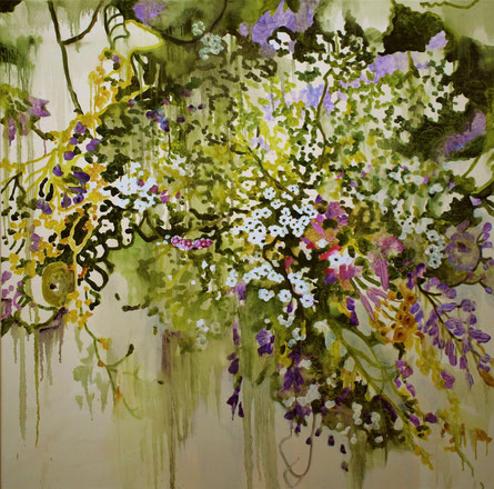Cercherò la Dea della vita olio e collage su tela cm 100 x 100