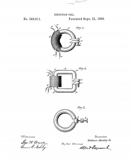 US349,611 A - Induction coil - 21 Sep 1886