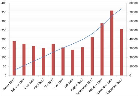 Besucher/Tag und Gesamtbesucher im Jahr 2017