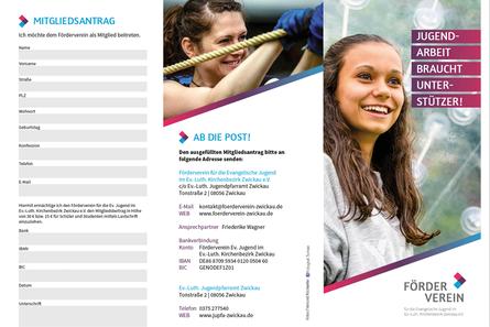 FÖRDERVEREIN für die Evangelische Jugend im Ev.-Luth. Kirchenbezirk Zwickau e.V. | Flyer