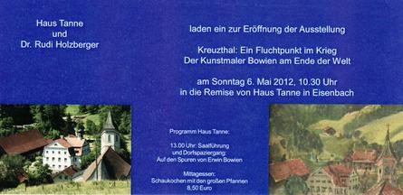 Einladungskarte 2012 zur Erwin Bowien Ausstellung in Isny (Stadtteil Eisenbach)