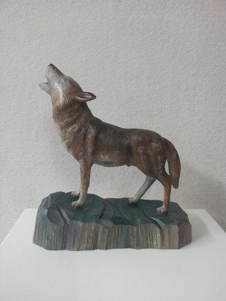 Wolf, Linde, gefasst, versiegelt ca. 15 cm