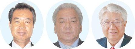 右から加勢本曙氏(62)山田耕治氏(55)川満栄長氏(59)