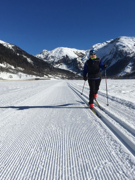 Classic skiing in the Goms Valley, Switzerland