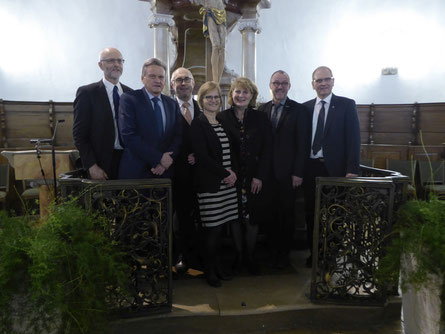 von links nach rechts: Dr. Eberhard Gohl, Josef Rettenmaier, Frank Wössner, Beate Hübner, Doris Liebe, Christoph Rohlik, Dekan Ralf Drescher