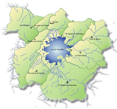 Le lac de Grand-Lieu et ses communes limitrophes.