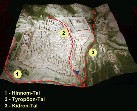 Jerusalem & die drei Täler, welche den Buchstaben Schin bilden