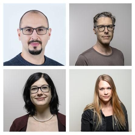 «Christoph Pfister, Jan Koch, Christine Chaouch und Chiara Pajarola» (von links nach rechts sowie oben nach unten) © CANTIENICA AG