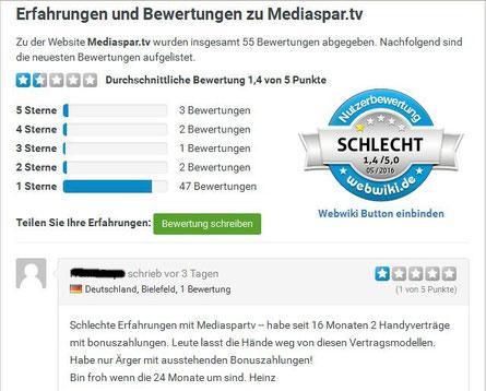 webwiki - schlechte Bewertung für Mediaspar, viel Ärger