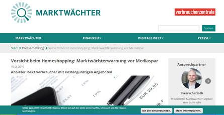 Auch die Verbraucherzentrale befasst sich mit Mediaspar TV