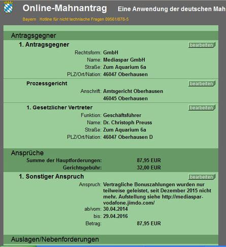 Gerichtlicher Mahnbescheid gegen Mediaspar GmbH
