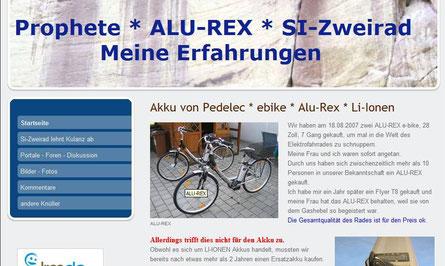 Erfahrungsbericht über Prophete, Alu-Rex, Flyer, Kalkhoff, Zemo, Bosch Motor, Panasonic Motor, Pedelec
