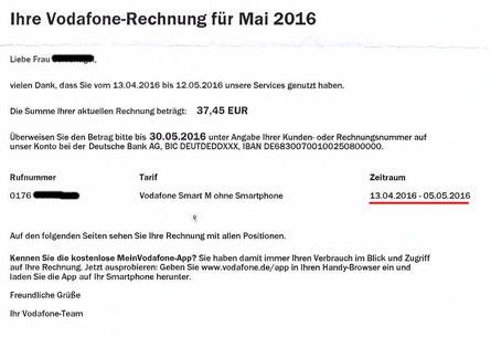 Vodafone Abschlussrechnung Mai 2016