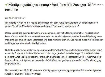 Ein Beispiel wie Vodafone seine Zusagen einhält ...