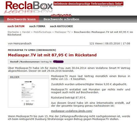 Mediaspar ist mit 87,95 € im Rückstand