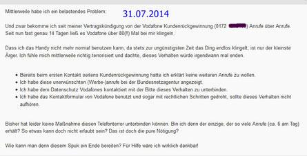 """Vodafone betreibt auch 2014 """"Telefonterror"""""""