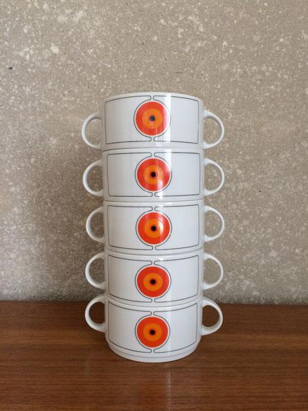 bol vintage, tasse vintage, orange, Thomas germay, porcelaine allemande, Eclipse Thomas, Rosenthal