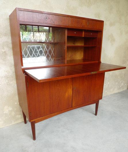 secrétaire, commode, bibliothèque, enfilade, teck, danois, scandinave, vintage, JOLI