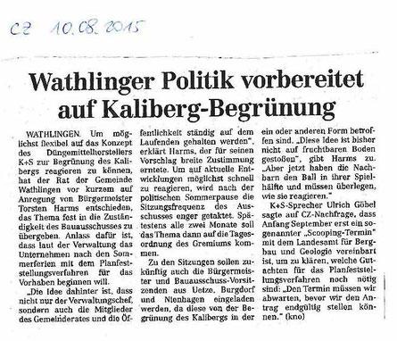 Quelle: Cellesche Zeitung, 10.08.2015