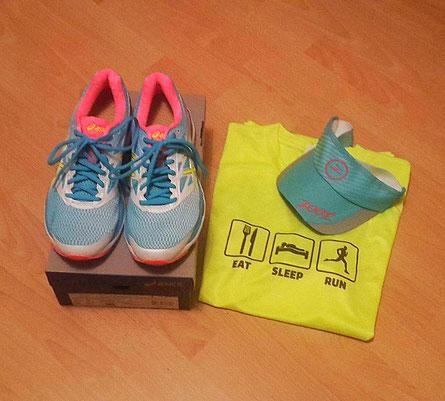 Neues Schuhwerk von Asics und Visier von Zoot. Vom Shirt fehlt mir leider die Marke.