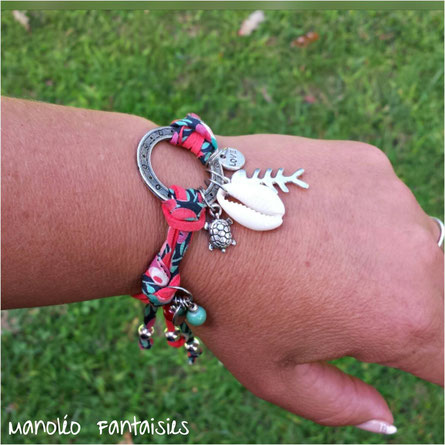 bracelet sans fermoir manoleo fantaisies coquillage poisson tortue perles chic bohème hippie