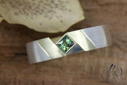 Ring Silber mit Gold, Turmalin grün