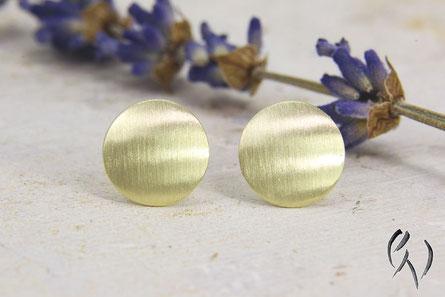 Ohrstecker Gold 585/-, Scheibe, rund, matt, seidenmatt, Sonne