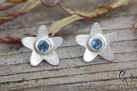 Ohrstecker Silber 925/- mit Blautopas