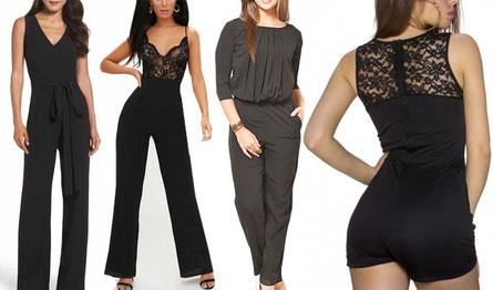 Vrouwen in verschillende jumpsuits: kort, lang, met mouwen en zonder, kant, strikken en roeseltjes