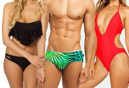 Vrouwen en man in badkleding. Ouderwets, hip en nieuw, traditioneel en aanstootgevend